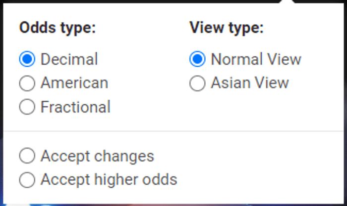 Cotes américaines, décimales et fractionnelles, avec vue normale et asiatique.